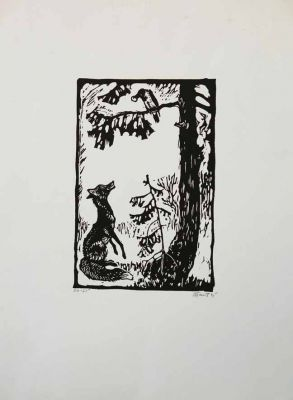 Works on Paper - Fox and Raven