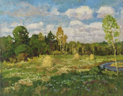 Sold Works: Evgeni Chuikov - Meadow by the Forest