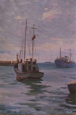 Sold Works: Vladimir Masik - Fishing Boats in the Port
