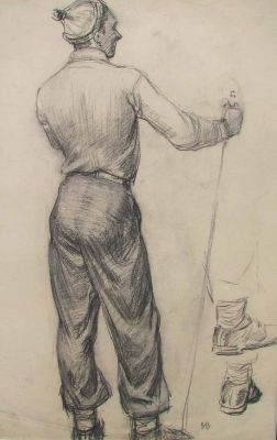 Works on Paper - Standing Skier, Study