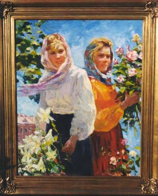 Sold Works: Vasili Gurin - Kiev Flower Sellers