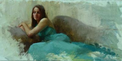 Select Sold Works: Marci Oleszkiewicz - Aqua Dress